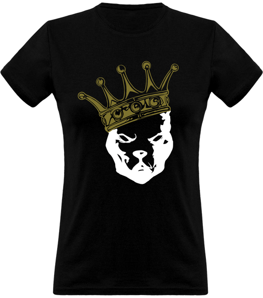(new) T-shirt Femme 150g - Be a Pit - black Tshirt - crown White & Gold