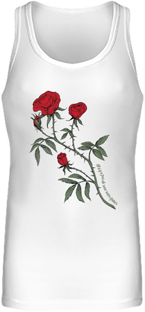 (tank top) Débardeur Long Femme - blanc, rose design