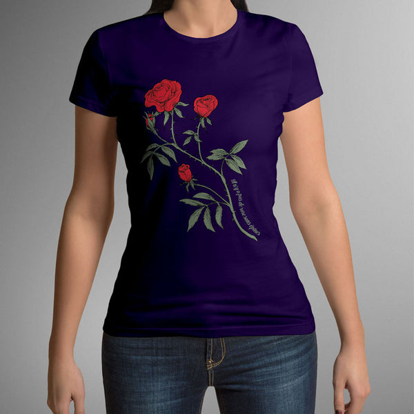(new) T-shirt Femme 150g - Purpple Tshirt - Rose Design
