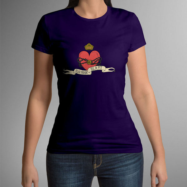 (new) T-shirt Femme 150g - Purpple Tshirt - Heart Design