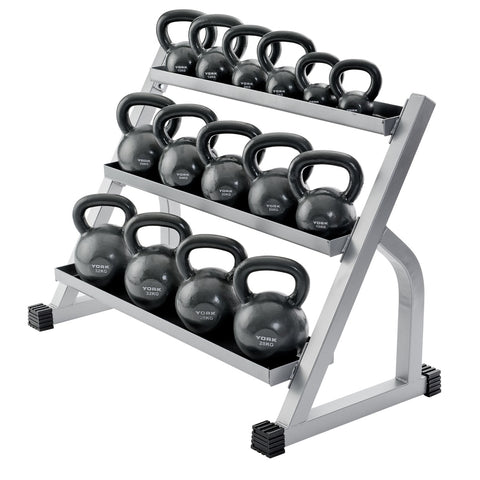 York Barbell Kettlebell Rack 15100 loaded with Kettlebells