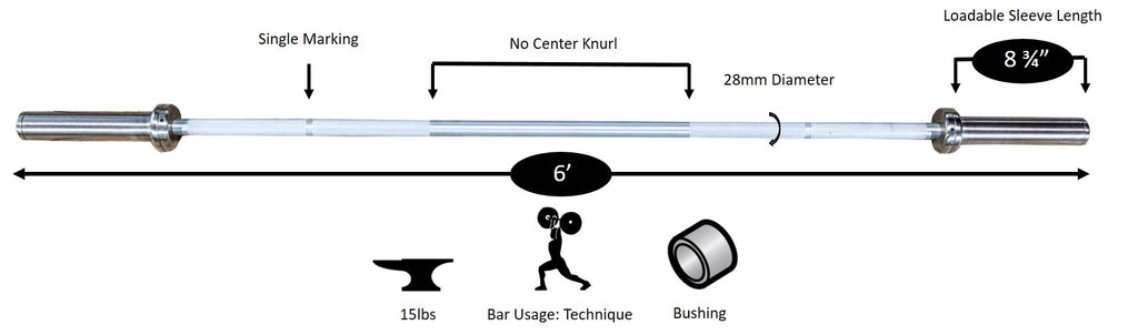 York Barbell 6' Ultra-Light Aluminum Technique Bar Diagram