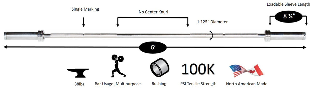 York Barbell 6' International Chrome Olympic Bar Diagram