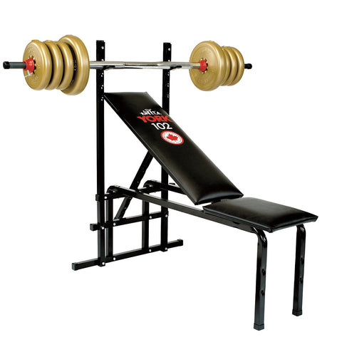 4002 York Fitness 102 Starter Bench for Beginners with loaded Barbell