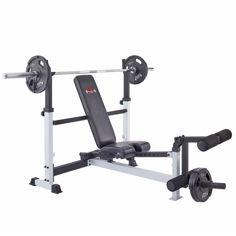 York Barbell 48005 Olympic Combo Bench loaded with Bar and plates.