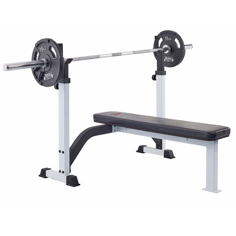 48006 York Barbell Olympic Flat Bench with G2 plates and Olympic Bar