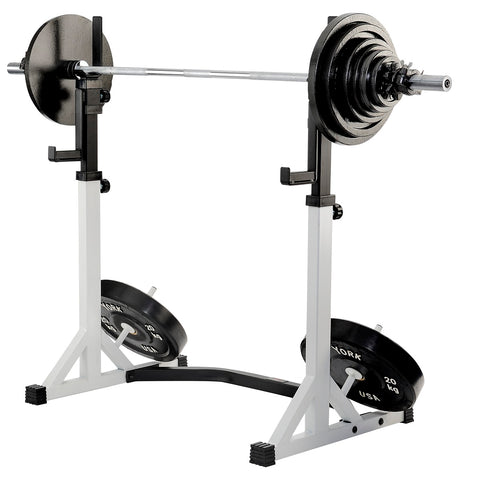 48057 York Barbell FTS Press Squat Stand loaded with 7377 140 KG Olympic Set