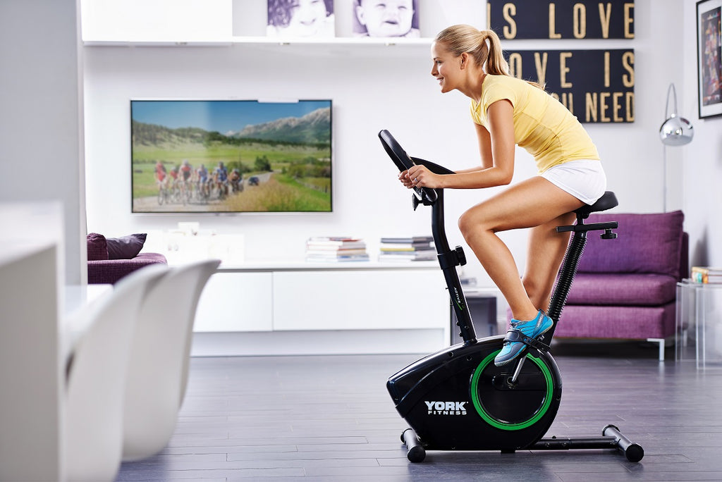 53061 York Fitness Active 110 Exercise Bike Lifestyle Shot