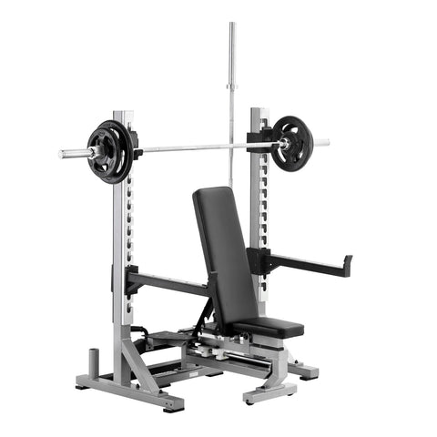 York Barbell Multi Function Bench in Shoulder Press Position