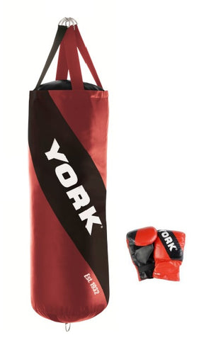 60083 York Leather 4ft Punchbag with Free Bag Gloves