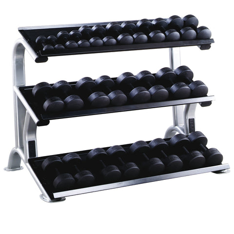 York Barbell 3 Tier Tray Rack and Dumbbells