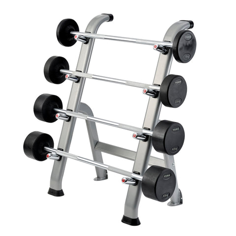 York Barbell Fixed Barbell on Rack