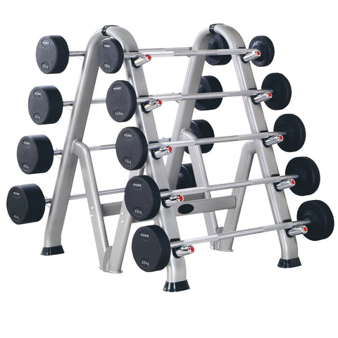 69150 York Barbell Pro Style Barbell Rack back to back loaded with barbells