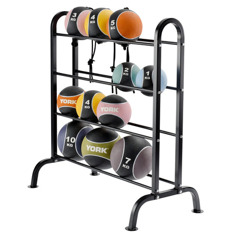 BBE310 York Barbell Horizontal Medicine Ball Rack with Medicine Balls