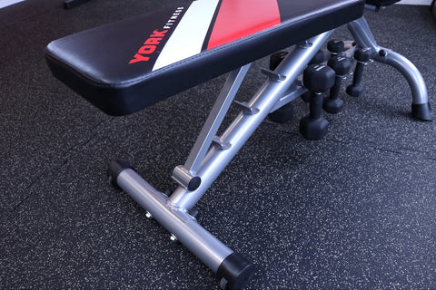 York Fitness Black Edition Dumbbell Bench Seat position selector