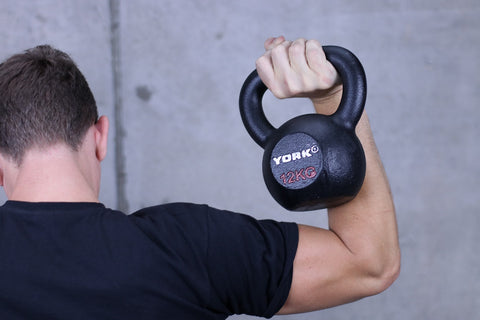 York Hercules Kettlebell with model