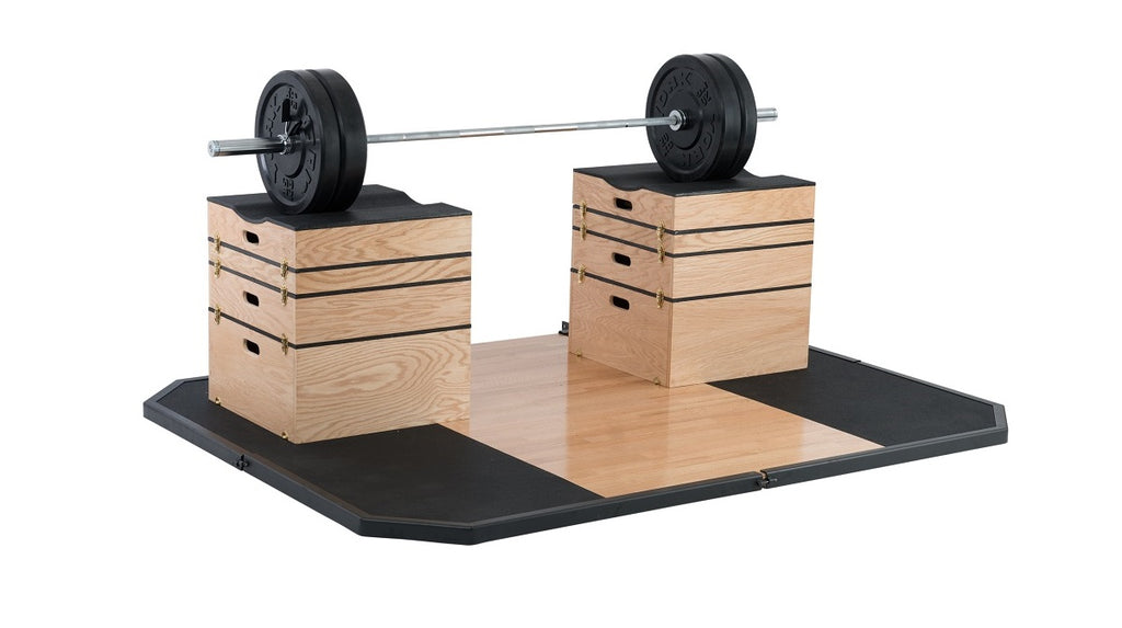 York Barbell Jerk Boxes, Olympic Platform and Bumper plate set