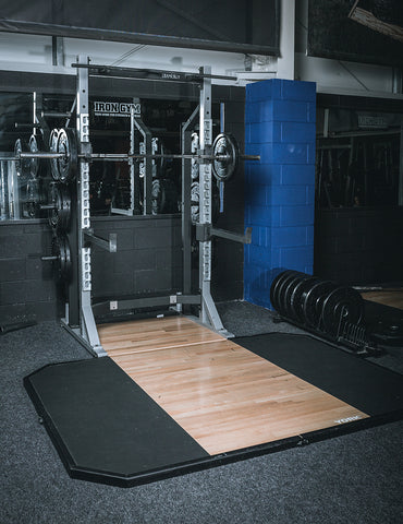 York Barbell 54241 Lifting Platform, 54252 Oak insert and 55009 Half Rack