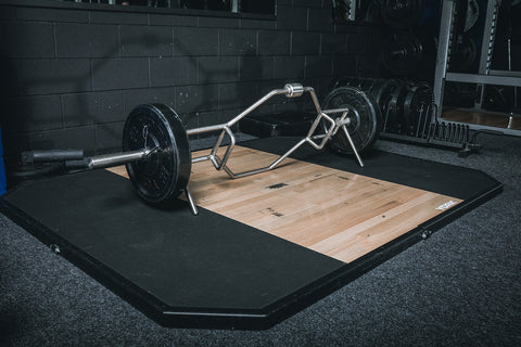 York Barbell Free Standing Lifting Platform with Rock and Roll Shrug Bar