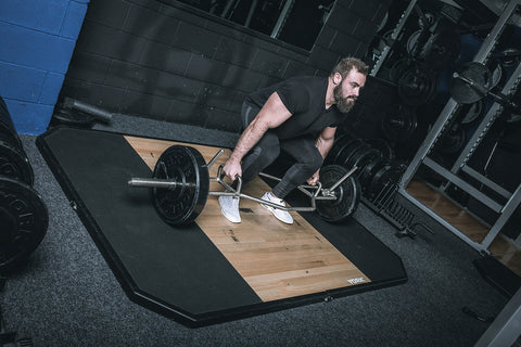 York Barbell Dead Lift & Shrug Bar loaded in action
