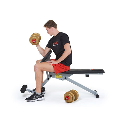 45067 York 13 in 1 Dumbbell Bench in Arm Curl Position with model