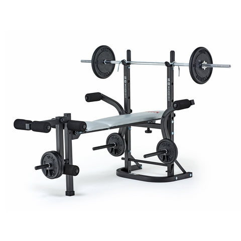 York Fitness B501 Barbel Bench with Standard Spinlock Barbell and Weight Plates