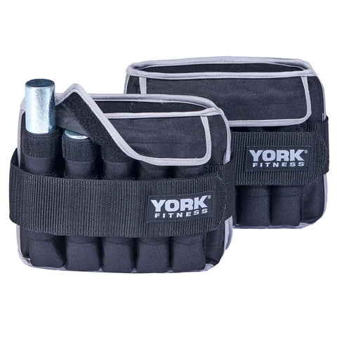 60028 York Fitness Adjustable Ankle Weights with removable iron bar displayed