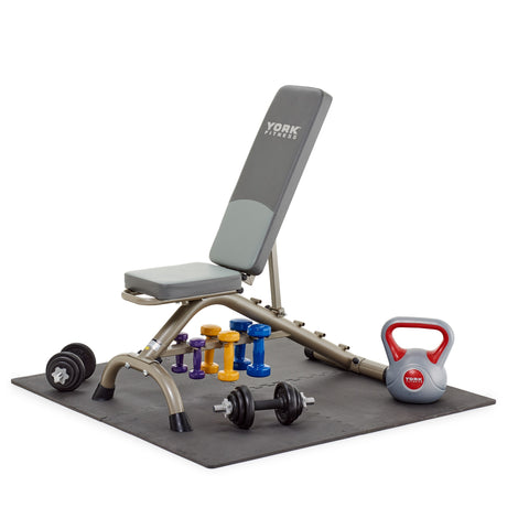6700 York Fitness Floor Guards with Fitness Bench and Weights