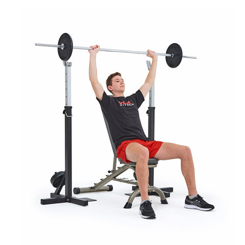 4025 York Fitness Heavy Duty Squat Stand and Fitness Bench with model performing shoulder press