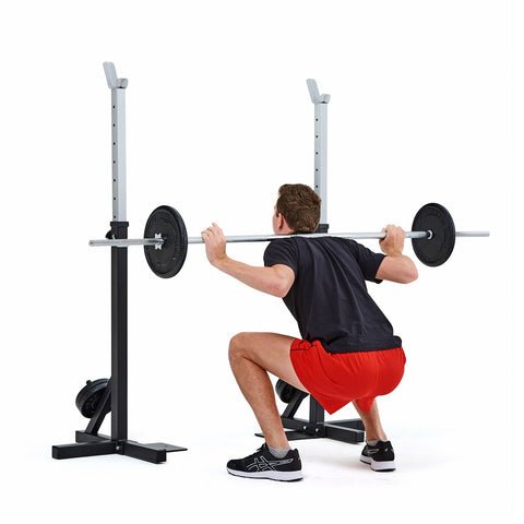 4025 York Fitness Heavy Duty Squat Stand with model performing squat