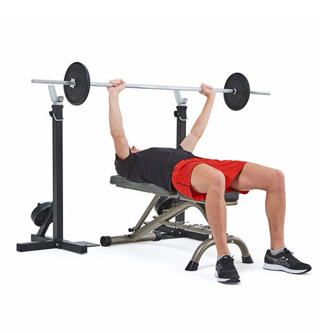 4025 York Fitness Heavy Duty Squat Stand and Fitness Bench with model performing chest press