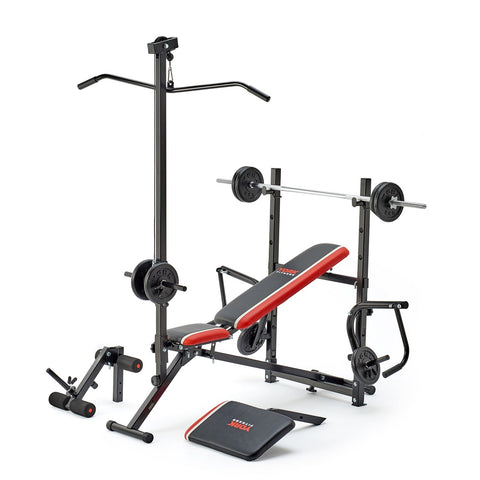 "45065 York Fitness Ultimate Warrior Bench loaded with 1"" Cast Weight plates"