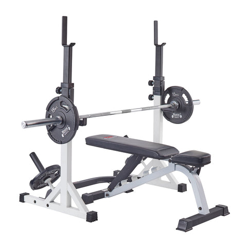 48057 York Barbell FTS Press Squat Stand and 48003 FTS Flat to Incline Bench, Bar and G2 Plates