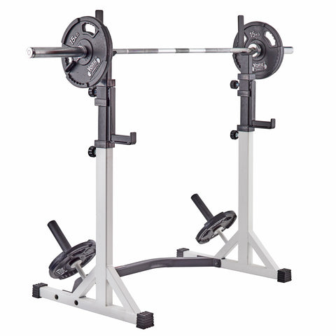 48057 York Barbell FTS Press Squat Stand loaded with Olympic Bar and G2 Plates