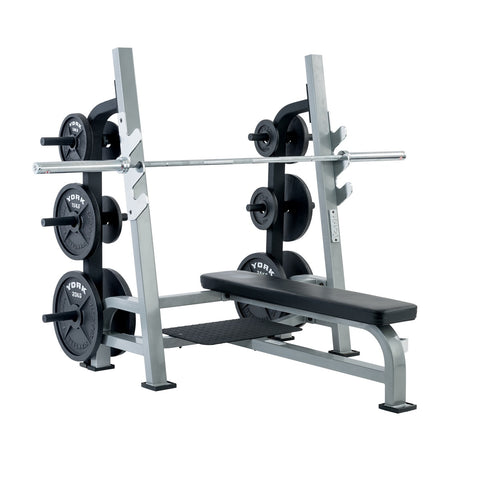 York Barbell Olympic Flat Bench with Weight Storage unit attached 55041 & 54242