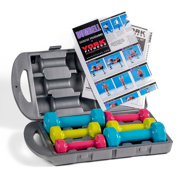 York Fitness Vinyl Dipped Dumbbell (Fitbell) 10 KG Set in a Case