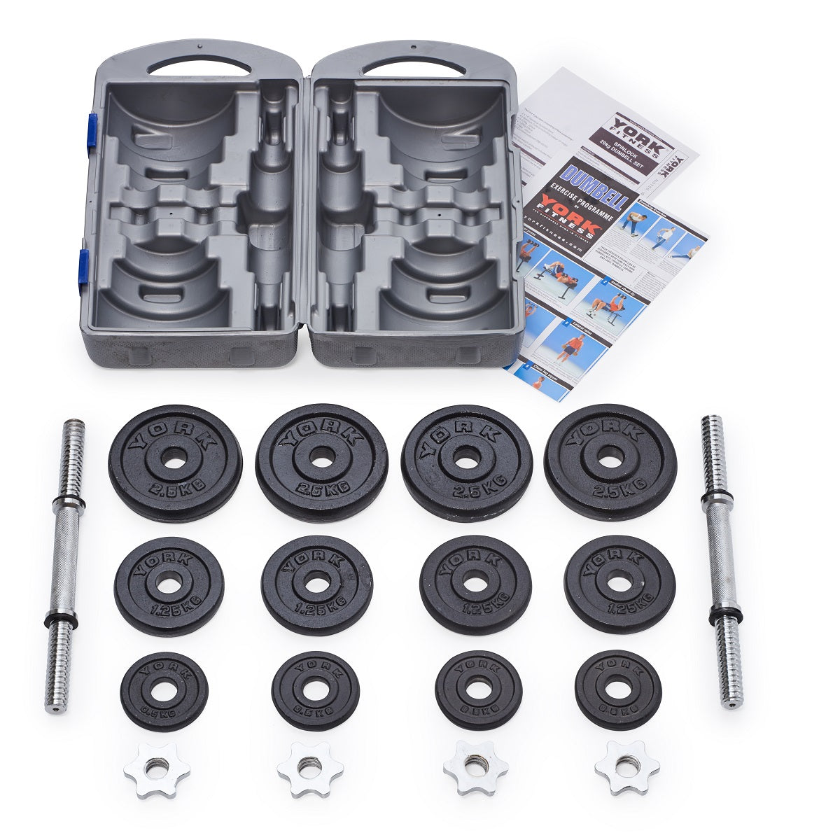 York Dumbbell Exercise Programme: Black Cast Iron Dumbbell Set In Case