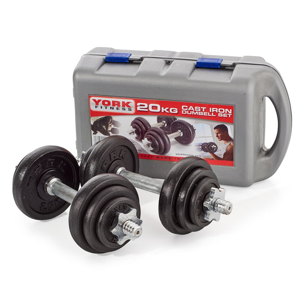York Fitness Black Cast Iron Dumbbell Set and Case