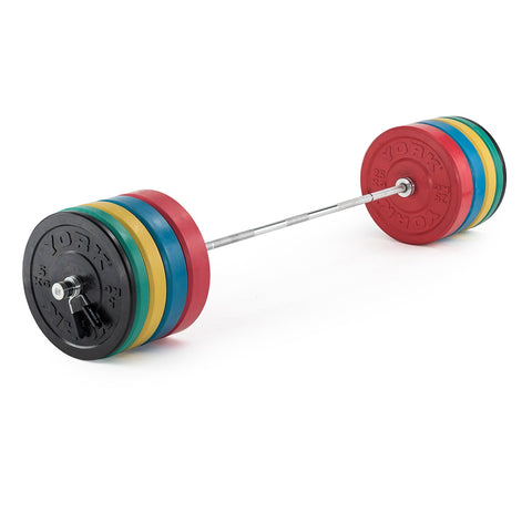 York Barbell 170 KG Olympic Coloured Rubber Bumper Plate Training Set