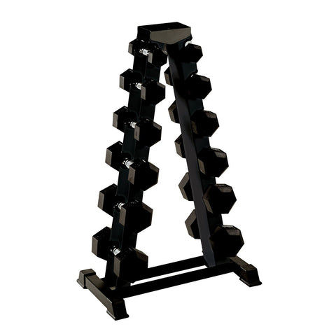 York Barbell 1.25 KG - 12.5 KG Rubber Hex Dumbbell Set and A Frame Rack