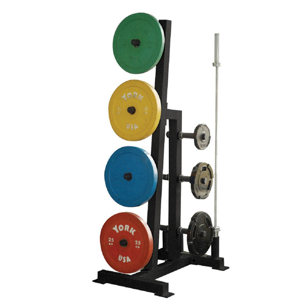 York Barbell Olympic Single Sided Plate Tree Rack with 2 Olympic Bar Holders