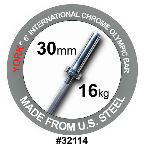 York Barbell 6' International Chrome Olympic Bar