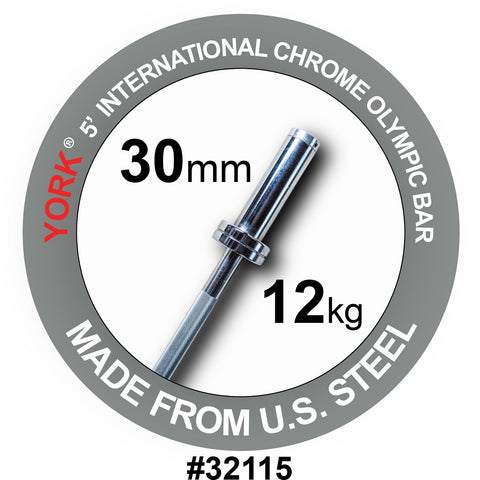 York Barbell 5' International Chrome Olympic Bar
