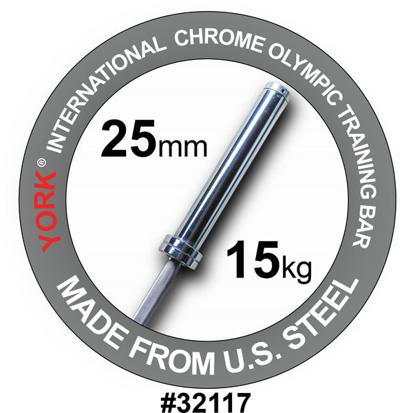York Barbell 6.5' Women's International Chrome Olympic Bar
