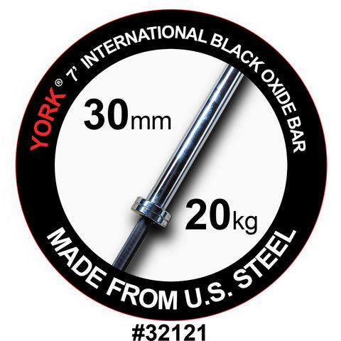York Barbell 7' International Black Oxide Olympic Bar 30mm