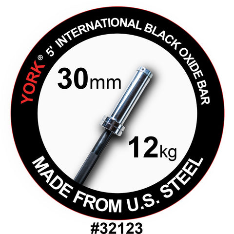 York Barbell 5' International Black Oxide Olympic Bar
