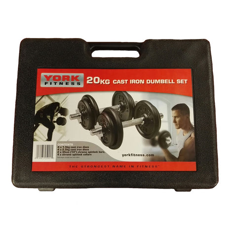 York Fitness Black Edition Cast Iron Dumbbell Set and Case
