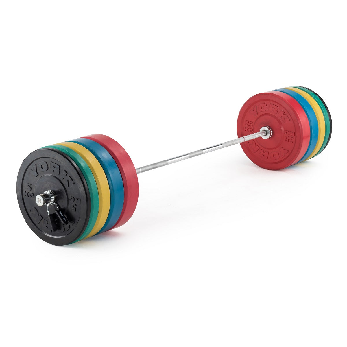 Coloured olympic solid rubber bumper plates york fitness york