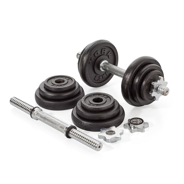 york weights. york fitness 20 kg black cast iron dumbbell spinlock set weights y