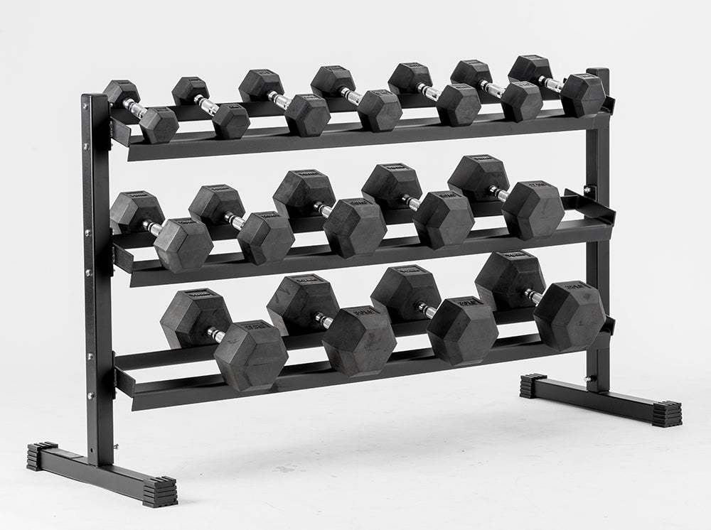 york barbell. york barbell 3 tier rubber hex dumbbell rack t